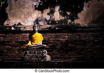 ayutthaya, ancien, wat-yaichaimongkol, bouddha, thaïlande