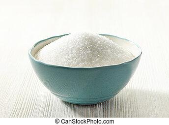 azúcar blanca, en, un, tazón