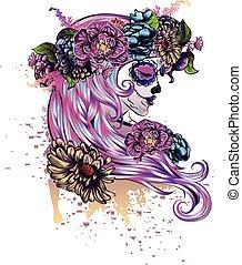 azúcar, cráneo, niña, en, flor, corona