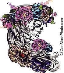 azúcar, niña, cráneo, corona, flor