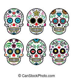 azúcar, vector, mexicano, cráneo, iconos