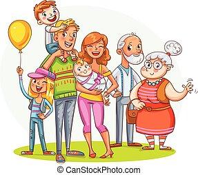 az enyém, nagy, család, együtt., furcsa, karikatúra, betű