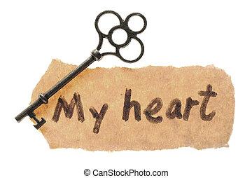 az enyém, szív, öreg, szavak, kulcs