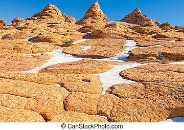 Arizona, Paria Canyon-Vermillion Cliffs Wilderness. The Cottonwood Cove area of the S Coyote Buttes in this wilderness area exhibits spectacular land formations.