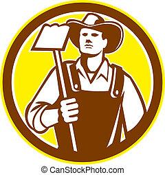 azada, orgánico, retro, tenencia, granjero, agarrar, círculo