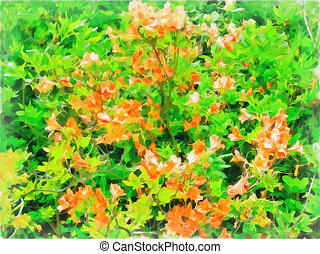 Azalea bush. Bright orange flowers on green leaves background. Watercolor painting. Digital painting - illustration. Natural landscape