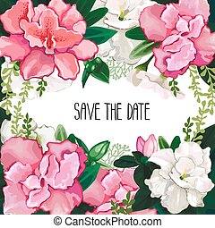 Azalea card with floral bouquets. Vector wedding design