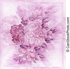 Azalea flowers, water colour