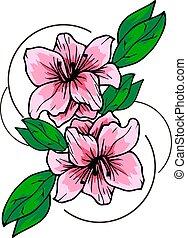 Azalea room flower. Vector element design
