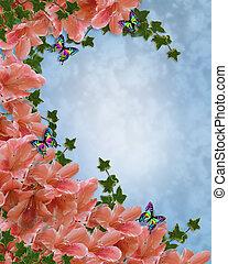 Azaleas Floral Invitation Borde - Illustration and image...