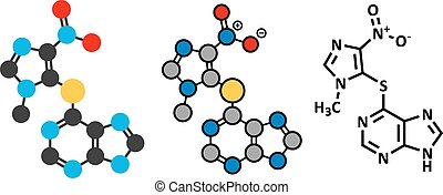 Azathioprine immunosuppressive drug molecule. Used to...