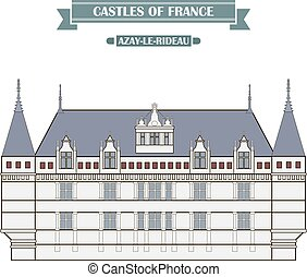 Azay-le-Rideau, France. The medieval castle, a monument of architecture and history of France