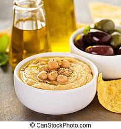 azeite oliva, caseiro, hummus