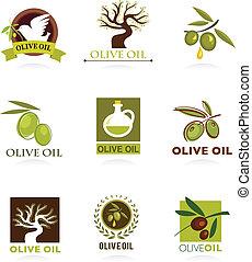 azeitona, ícones, e, logotipos
