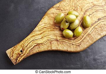 azeitona, azeitonas, madeira, verde, platter