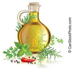 azeitona, ervas, óleo, temperos