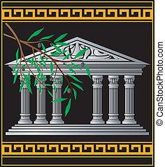 azeitona, grego, templo, ramo