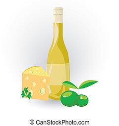 azeitona, queijo, vinho