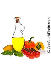 azeitona, tomate, pimenta, óleo, basil.