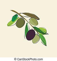azeitonas, ramo, folhas, fundo, bege