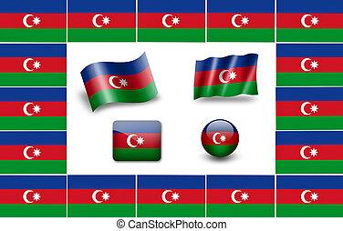 azerbaijan., 旗, セット, アイコン