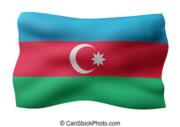 Azerbaijan 3d flag - 3d rendering of a detail of a silked ...