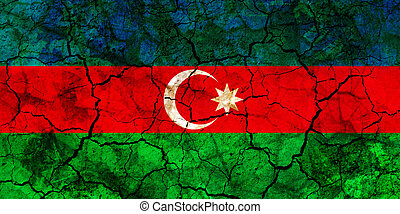 azerbaijan country flag painted on a cracked grungy wall