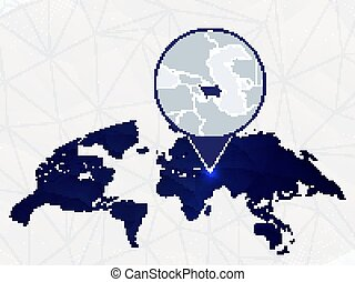 Azerbaijan detailed map highlighted on blue rounded World Map.