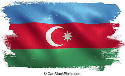 Azerbaijan Flag - Azerbaijan flag with fabric texture. 3D...