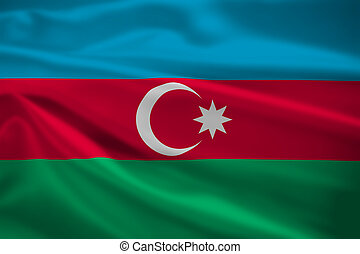 Azerbaijan flag blowing in the wind