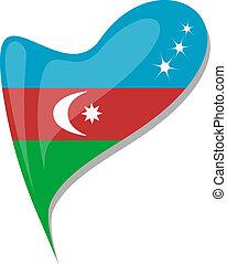 azerbaijan flag button heart shape. vector