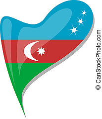 azerbaijan flag button heart shape. vector