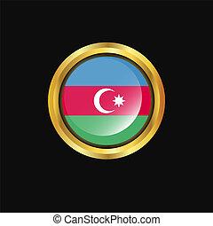 Azerbaijan flag Golden button