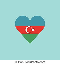 Azerbaijan flag icon in a heart shape in flat design