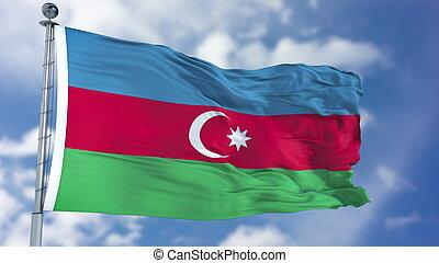 Azerbaijan Flag in a Blue Sky