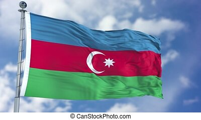 Azerbaijan Flag in a Blue Sky