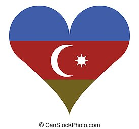azerbaijan flag in heart shape