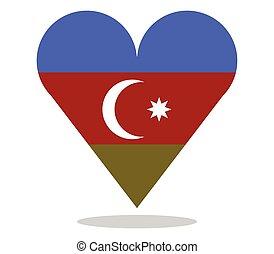 azerbaijan flag in heart shape
