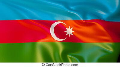 Azerbaijan flag in the wind . 3d illustration