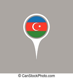 Azerbaijan flag location map icon , Vector illustration.