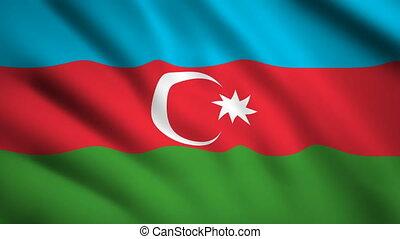 Azerbaijan flag Motion video waving in wind. Flag Closeup 1080p HD footage