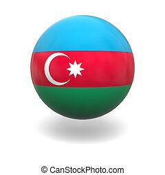 Azerbaijan flag - National flag of Azerbaijan on sphere...