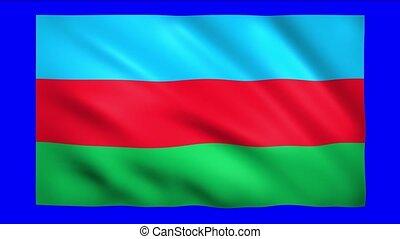Azerbaijan flag on blue screen for chroma key
