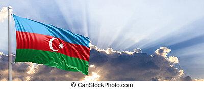Azerbaijan flag on blue sky. 3d illustration