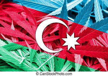 Azerbaijan Flag on cannabis background. Drug policy. ...