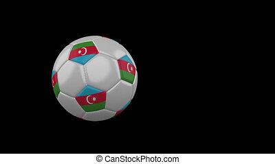 Azerbaijan flag on flying soccer ball on transparent background, alpha channel