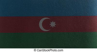 Azerbaijan flag on leather texture