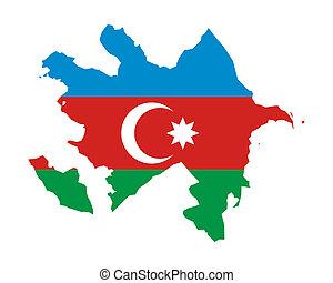Azerbaijan flag on map
