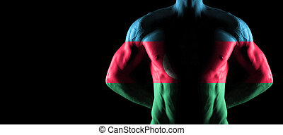 Azerbaijan flag on muscled male torso with abs