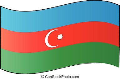 Azerbaijan flag on white background, vector illustration